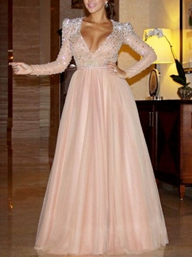 Ericdress Beading Sequins Long Sleeves Evening Dress