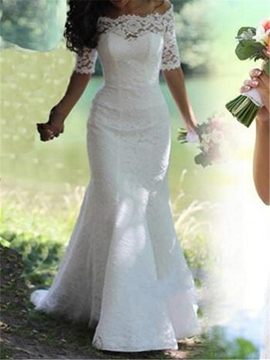 Ericdress Off The Shoulder Half Sleeve Lace Mermaid Wedding Dress