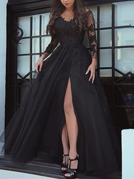 Ericdress Long Sleeve Appliques Evening Dress With Side Slit