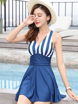 Ericdress Stripe Pleated One Piece Swimwear Beach Dress