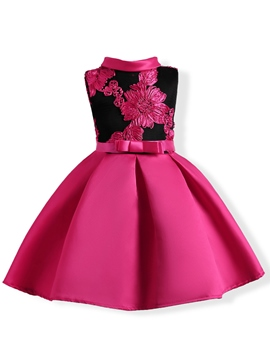 Ericdress Stand Collar Mesh Patchwork Applique Girl's Dress