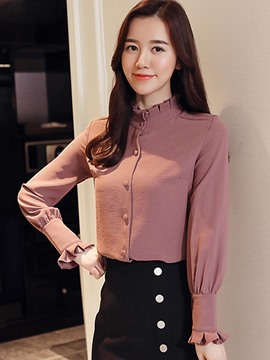 Ericdress Slim Stand Collar Single-Breasted Shirt