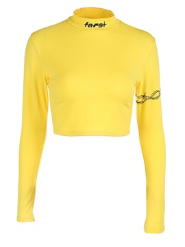 Ericdress Slim Letter Long Sleeve Crop Top