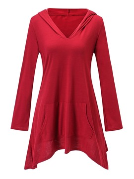 ericdress v-neck plain mit kapuze tunika t-shirt