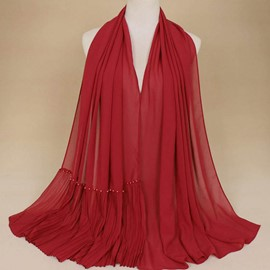Ericdress Imitation Pearl Pleated Solid Color Scarf for Women