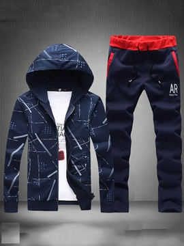 Ericdress Geometric Patten Hoodie Pants Men's Sweat Suit