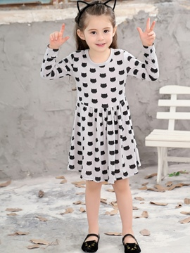 Ericdress Kitty Cartoon Print A-Line Girls' Dress