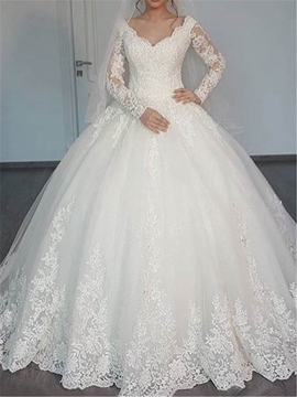 Ericdress Appliques Ball Gown Wedding Dress with Long Sleeves