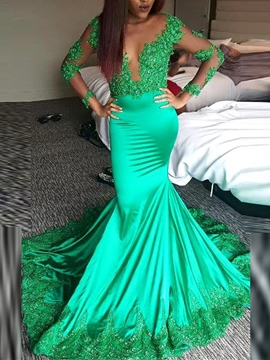 Ericdress Long Sleeves Appliques Beading Mermaid Evening Dress