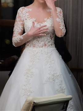 Ericdress Long Sleeves Appliques Hall Wedding Dress 2019