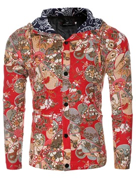 Ericdress Hooded Button Floral Print Slim Fit Men's Jacket Coat