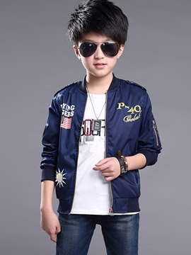 Ericdress Flag Lette Print Zipper Boys' Jacket