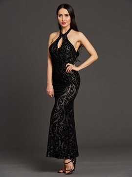 Ericdress Halter Floor-Length Backless Maxi Dress