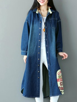 Ericdress Loose Long Denim Trench Coat