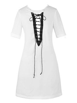 Ericdress Slim Plain Lace-Up Mid-Length T-shirt