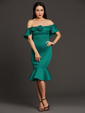 Ericdress Off-the-Shoulder Flower Ruffle Plain Mermaid Bodycon Dress