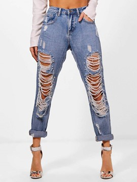 Ericdress Denim Women's Ripped Jeans