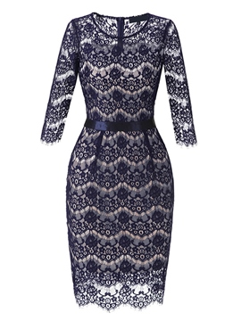 Ericdress Hollow Pullover Lace Women's Bodycon Dress