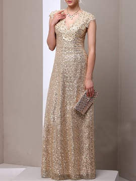 Attractive A-Line V-Neck Lace Sequins Mother Dress