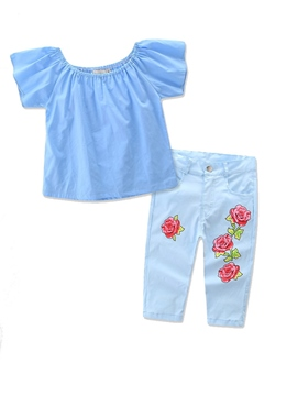 Ericdress Floral Embroidery 2 Pieces Girls' Outfit