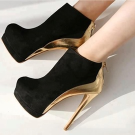 Ericdress Color Block Back Zip Platform High Heel Boots