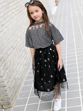 Ericdress Sequins T-shirt & Mesh Skirt Girls' Outfit