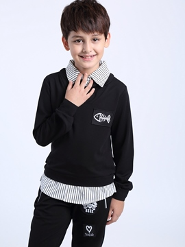 Ericdress Stripe Lapel Double-layer Boys' T-shirt
