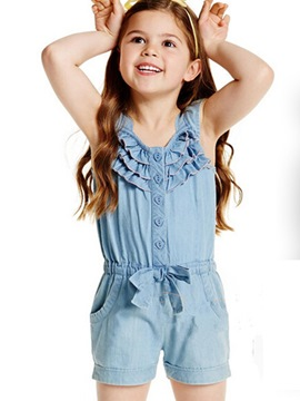 ericdress denim falbala patchwork shorts chicas 'mono