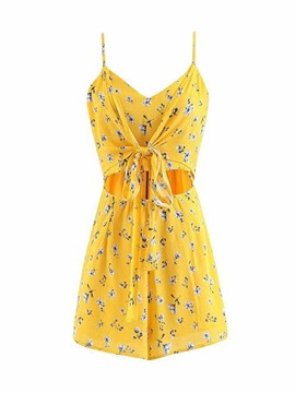 Ericdress Bowknot Floral Print Women's Cami Romper