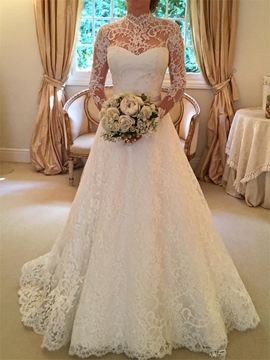 Ericdress Bowknot Backless Lace Wedding Dress With Sleeves