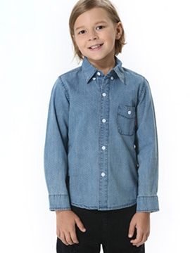 Ericdress Lapel Single-breasted Pockets Boys' Denim Shirt