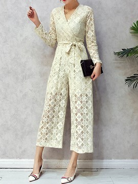 Ericdress Lace Wide Leg Lace-Up Women's Jumpsuit