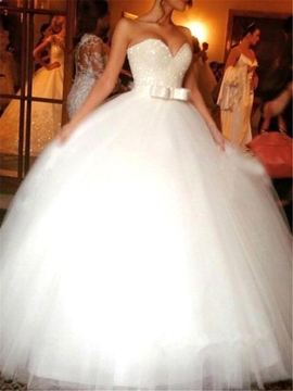Ericdress Bowknot Sweetheart Sequins Ball Gown Wedding Dress