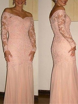 Ericdress Long Sleeves Sheath Appliques Mother Of The Bride Dress
