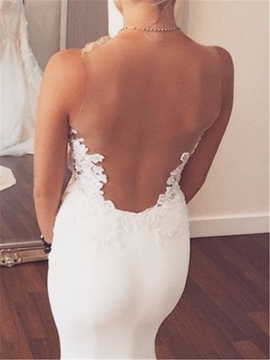 Ericdress Sexy Backless Mermaid Appliques Wedding Dress