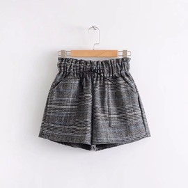 Ericdress Plaid Lace-Up Women's Shorts