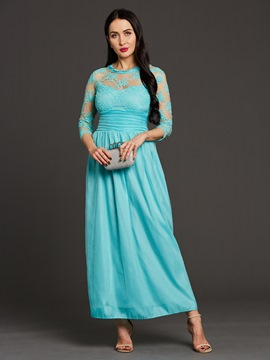 Ericdress Floor-Length Pleated Patchwork Lace Maxi Dress