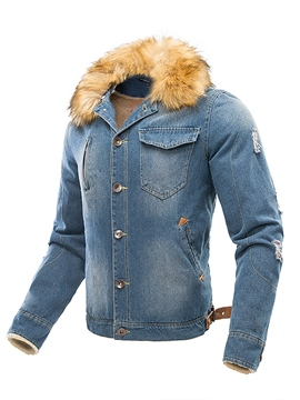 Ericdress Faux Fur Collar Denim Men's Jacket