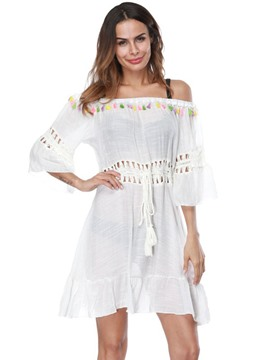 Off Shoulder Plain Tassel Hollow Flare Sleeve Beach Dress Cover Up