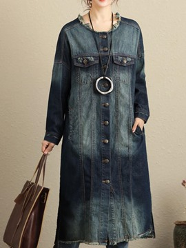 Ericdress Loose Worn Denim Trench Coat