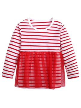 Ericdress Stripe Mesh Patchwork Girls' T-shirt