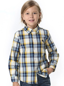 Ericdress Lapel Plaid Single-breasted Boys' Shirt
