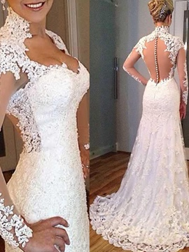 Ericdress V Neck Appliques Sheer Back Wedding Dress With Sleeves