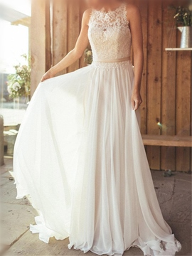 Ericdress Appliques Button Beach Wedding Dress