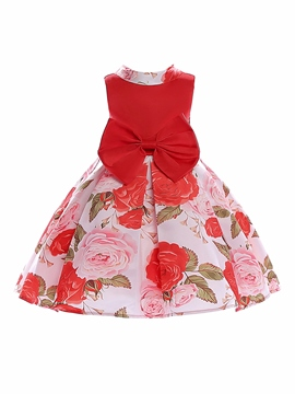 Ericdress Floral Print Patchwork Ball Gown Girl's Dress