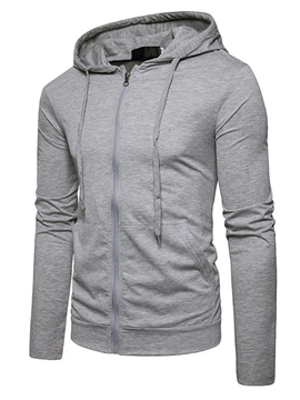 Ericdress Zip Up Hooded Lace-Up Men's Hoodie