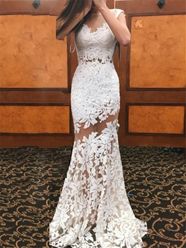 Ericdress Illusion Neckline Sheath Lace Wedding Dress