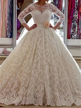 Ericdress Ball Gown Lace Wedding Dress With Sleeves