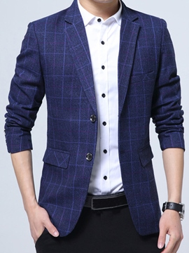 Ericdress Notched Lapel Two Button Plaid Men's Jacket Coat