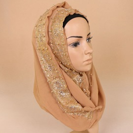 Ericdress Muslim Imitation Pearl Lace Headscarf